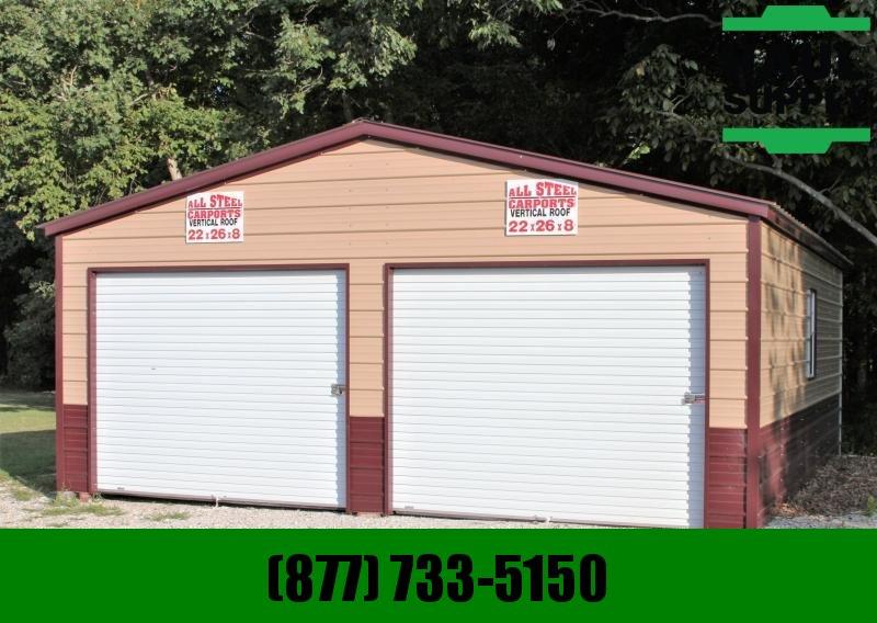 All Steel Carports 22WX26LX8H 2 CAR GARAGE