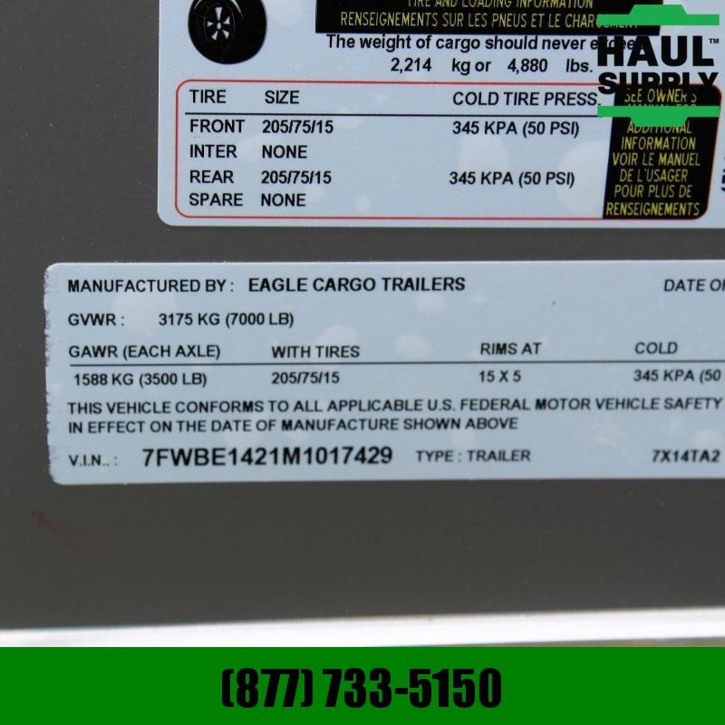 Traveler Cargo 7X14 7K V-NOSE CARGO TRAILER DOUBLE REAR