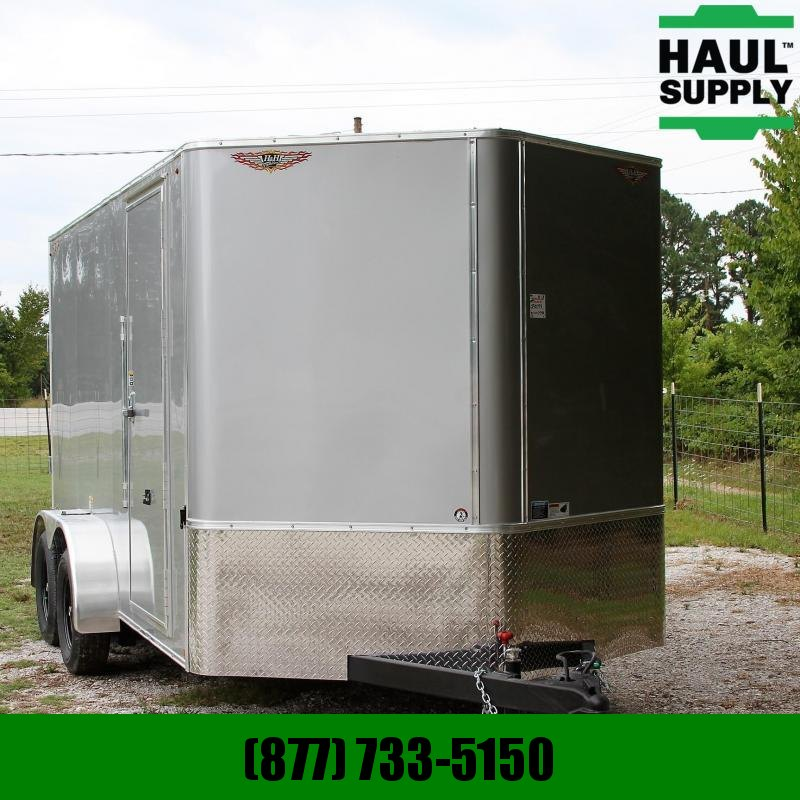 H and H Trailer 7X14 7K V-nose Cargo Trailer Rear Ramp Si