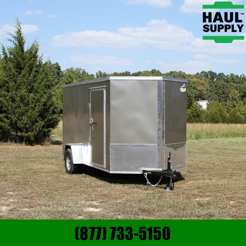 Covered Wagon Trailers 6X12 V-nose Cargo Trailer Rear Ramp Side