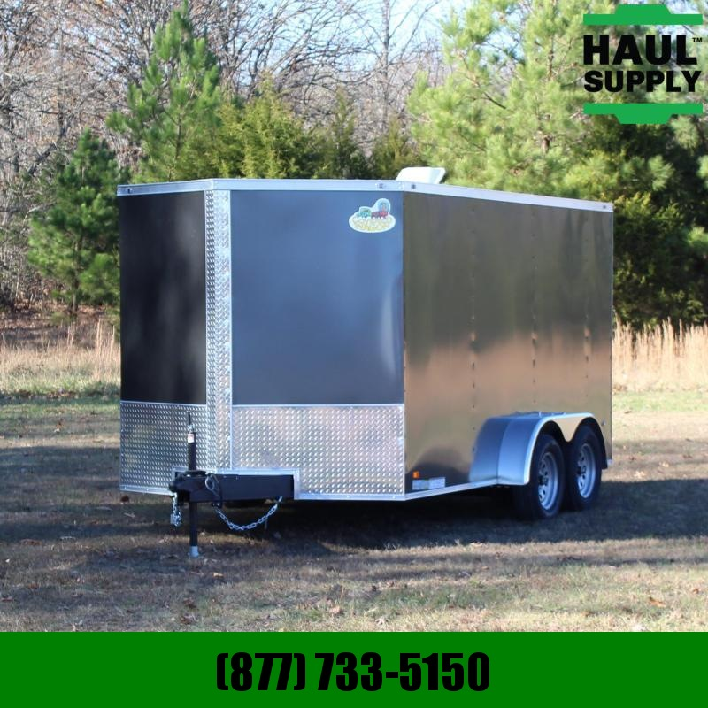 Covered Wagon Trailers 7X14 7K V-NOSE REAR RAMP ROOF VENT CARGO