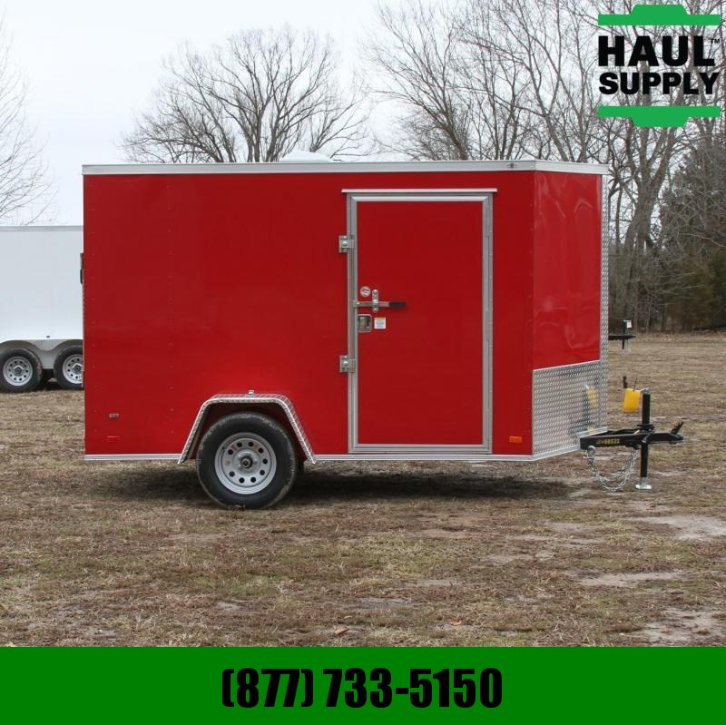 Covered Wagon Trailers 6X10 SA V-NOSE CARGO TRAILER REAR RAMP