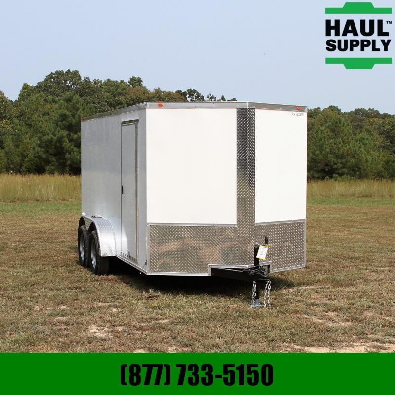 Traveler Cargo 7X14 7K V-nose Cargo Trailer Rear Ramp Si