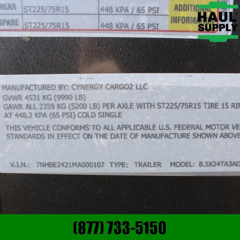 Cynergy Cargo 8.5X24 10K XT V-NOSE SEMI-SCREWLESS CAR H