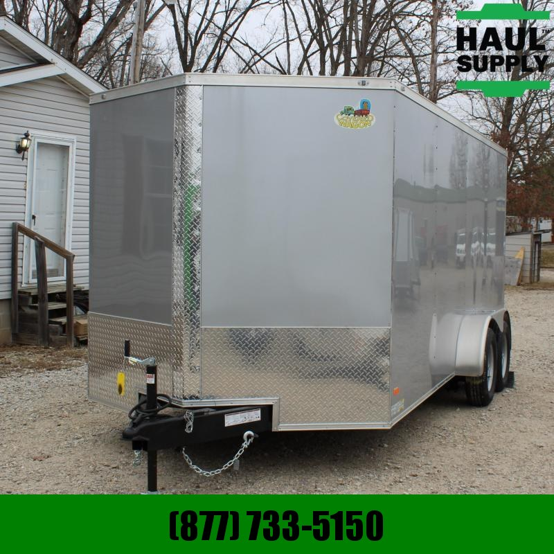 Covered Wagon Trailers 7X16 7K V-NOSE CARGO TRAILER REAR RAMP SI