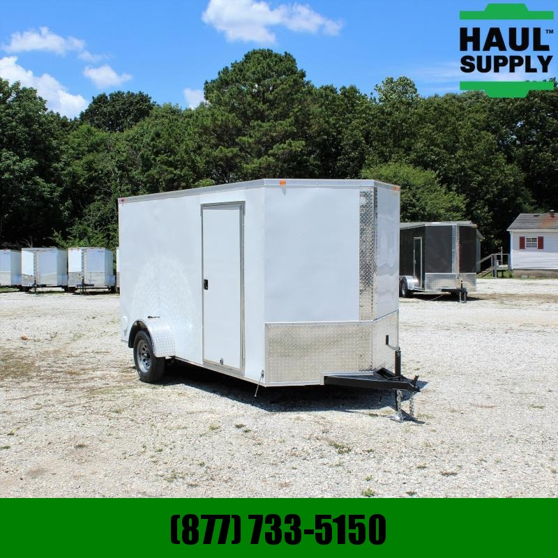 Traveler Cargo 6X12 V-nose Cargo Trailer Rear Ramp Side