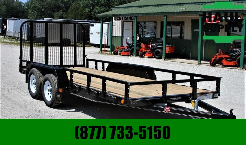 PJ Trailers 77X16 TA Utility w/ 4ft fold up gate Dext