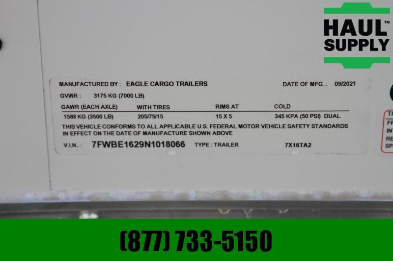 Traveler Cargo 7X16 7K V-NOSE CARGO TRAILER REAR RAMP SI