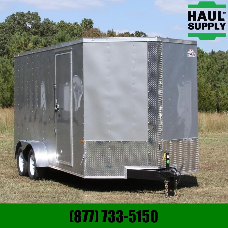 Rock Solid Cargo 7X16 7K V-nose Cargo Trailer XT Rear Ramp
