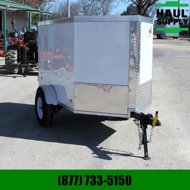 Covered Wagon Trailers 4X6 V-NOSE CARGO TRAILER SINGLE REAR DOOR