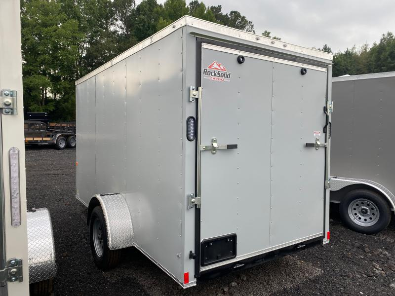 New 2022 Rock Solid 6ft x 12ft 3.5k Single Axle  Bumper Pull Enclosed w/6ft walls (Charcoal)