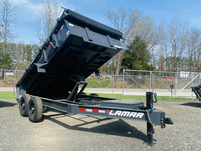 New 2021 Lamar 7ft x 14ft 14k Tandem Axle Low-Pro Bumper Pull Dump w/2ft walls (Lamar Gray)