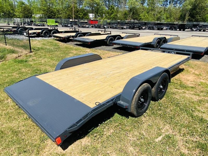 New 2021 Lamar 7ft x 18ft 7k Tandem Axle  Bumper Pull Car/Equipment Hauler   (Lamar Gray)