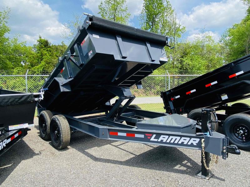 New 2021 Lamar 7ft x 12ft 14k Tandem Axle Low-Pro Bumper Pull Dump w/2ft walls (Lamar Gray)