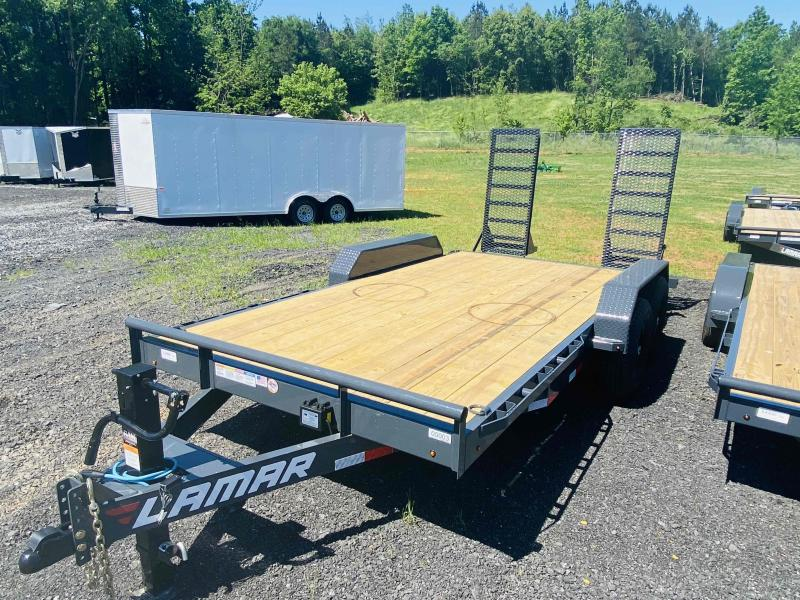 New 2021 Lamar 7ft x 16ft 14k Tandem Axle  Bumper Pull Car/Equipment Hauler   (Lamar Gray)