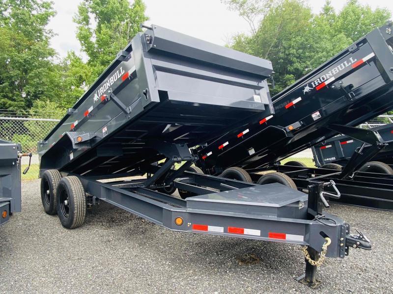 New 2021 Iron Bull 7ft x 14ft 14k Tandem Axle HD Bumper Pull Dump   (Ranch Gray)