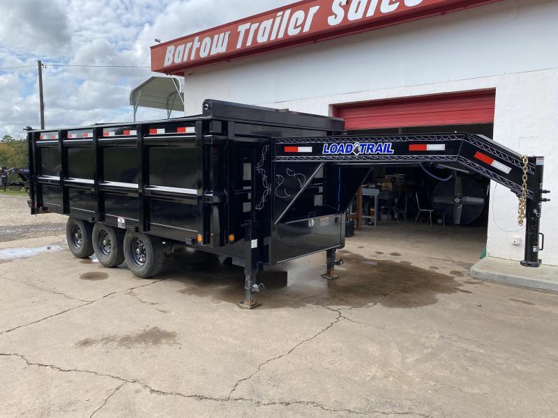 Used 2020 Load Trail 8.5ft x 16ft 21k Triple Axle Heavy-Duty Hurricane Gooseneck Dump   (Black)