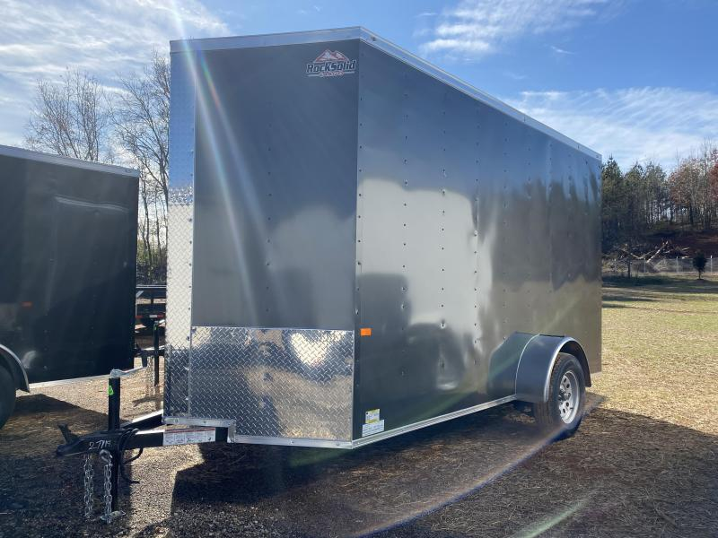 New 2021 Rock Solid 6ft x 12ft 3.5k Single Axle  Bumper Pull Enclosed w/7ft walls (Charcoal)