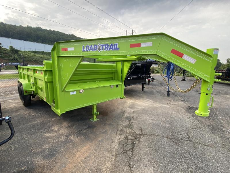 New 2021 Load Trail 7ft x 16ft 14k Tandem Axle  Gooseneck Dump w/2ft walls (Safety Green)