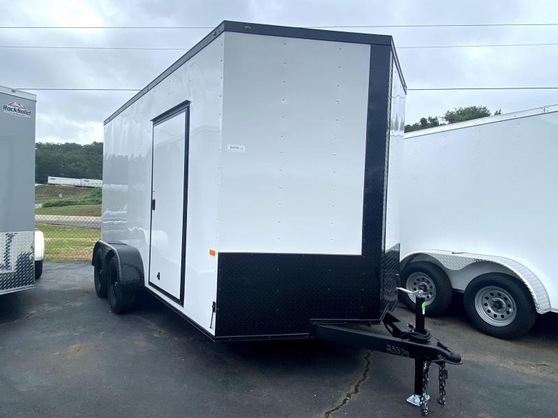 New 2020 Rock Solid 7ft x 14ft 7k Tandem Axle  Bumper Pull Enclosed w/7ft walls (White w/ BO)