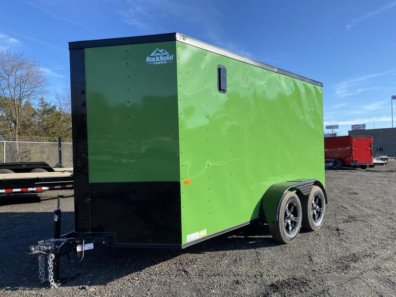 New 2021 Rock Solid 6ft x 12ft 7k Tandem Axle  Bumper Pull Enclosed w/6ft walls (JD Green w/SBO)