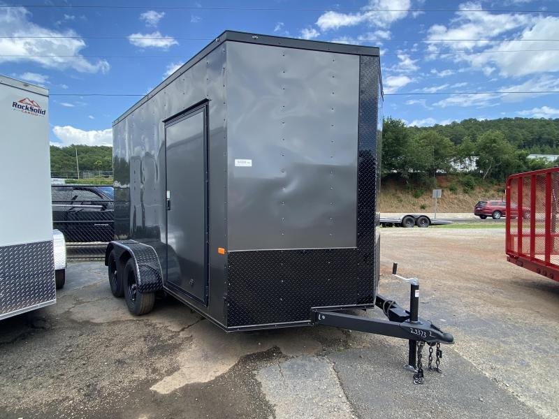 New 2020 Rock Solid 7ft x 12ft 7k Tandem Axle  Bumper Pull Enclosed w/7ft walls (Charcoal Gray)
