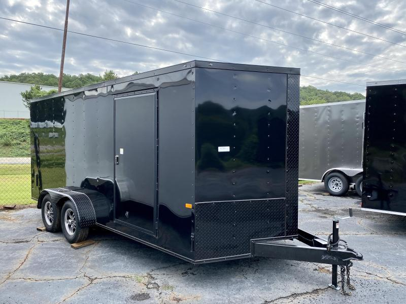 New 2021 Rock Solid 7ft x 16ft 7k Tandem Axle  Bumper Pull Enclosed w/6ft walls (Black w/ BO)