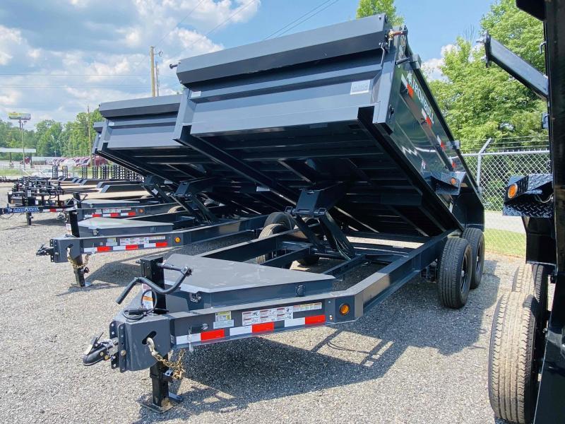 New 2022 Iron Bull 7ft x 14ft 14k Tandem Axle HD Bumper Pull Dump w/2ft walls (Ranch Gray)