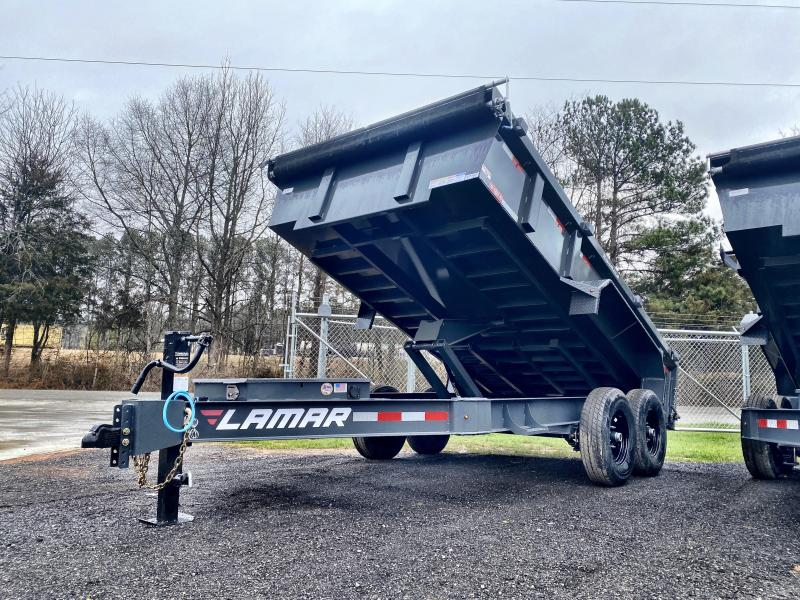 New 2021 Lamar 7ft x 14ft 14k Tandem Axle  Bumper Pull Dump w/2ft walls (Lamar Gray)