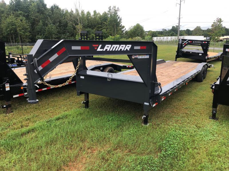 New 2021 Lamar 8.5ft x 32ft 14k Tandem Axle  Gooseneck Car/Equipment Hauler   (Lamar Gray)
