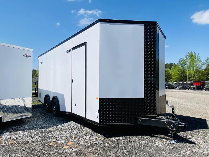 New 2021 Rock Solid 8.5ft x 20ft 10k Tandem Axle  Bumper Pull Enclosed w/7ft walls (Matte White w/SBO)