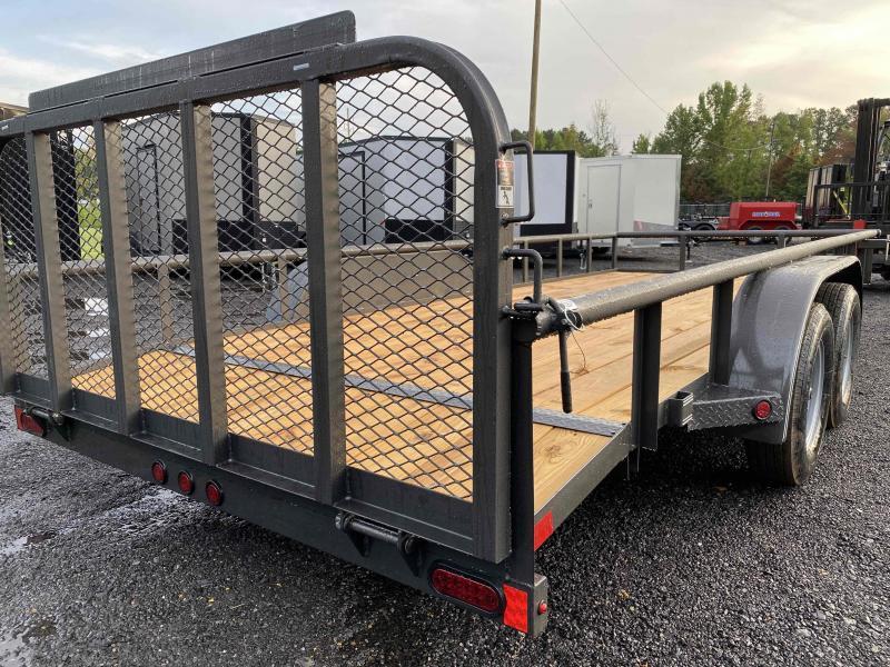 New 2021 East Texas 7ft x 18ft 7k Tandem Axle  Bumper Pull Utility w/1ft walls (Charcoal)