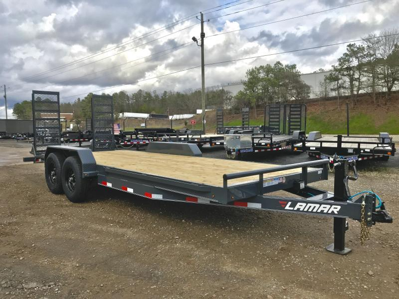 New 2020 Lamar 7ft x 20ft 14k Tandem Axle  Bumper Pull Car/Equipment Hauler   (Black)