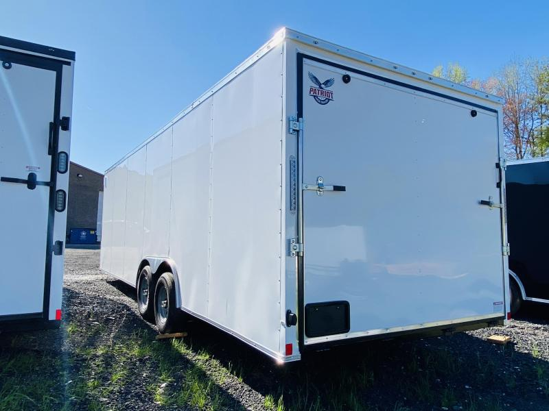 New 2021 Patriot 8.5ft x 24ft 10k Tandem Axle  Bumper Pull Enclosed w/6ft walls (White)