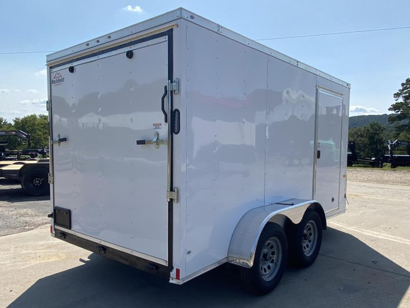 New 2021 Rock Solid 7ft x 12ft 7k Tandem Axle  Bumper Pull Enclosed w/6ft walls (White)