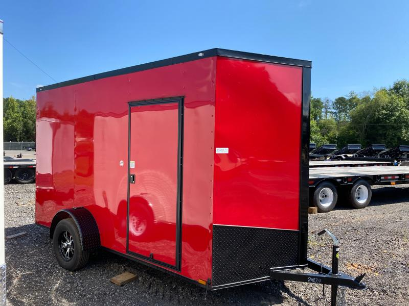 New 2022 Spartan 6ft x 12ft 3.5k Single Axle  Bumper Pull Enclosed w/7ft walls (Red w/SBO)