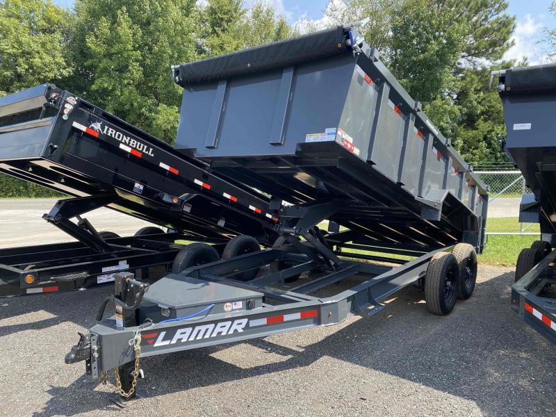 New 2021 Lamar 7ft x 16ft 14k Tandem Axle Low-Pro  Bumper Pull Dump w/3ft walls (Lamar Gray)