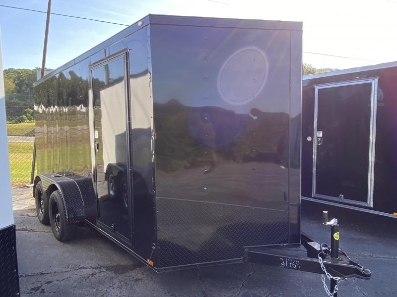 New 2021 Spartan 7ft x 14ft 7k Tandem Axle  Bumper Pull Enclosed w/6ft walls (Black w/ BO)
