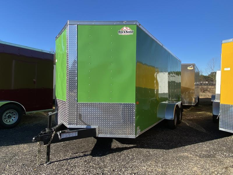 New 2021 Rock Solid 7ft x 16ft 7k Tandem Axle  Bumper Pull Enclosed w/6ft walls (JD Green)