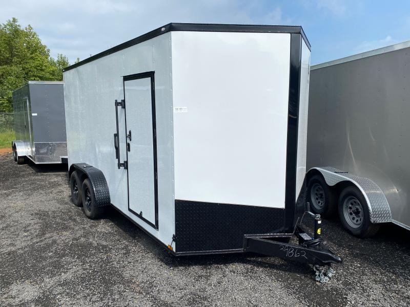 New 2022 Spartan 7ft x 16ft 7k Tandem Axle  Bumper Pull Enclosed w/7ft walls (White w/SBO)