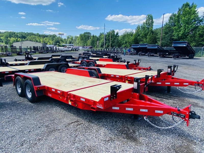 New 2021 Behnke 7ft x 20ft 14k Tandem Axle Heavy Duty Bumper Pull Tilt Deck   (Red)