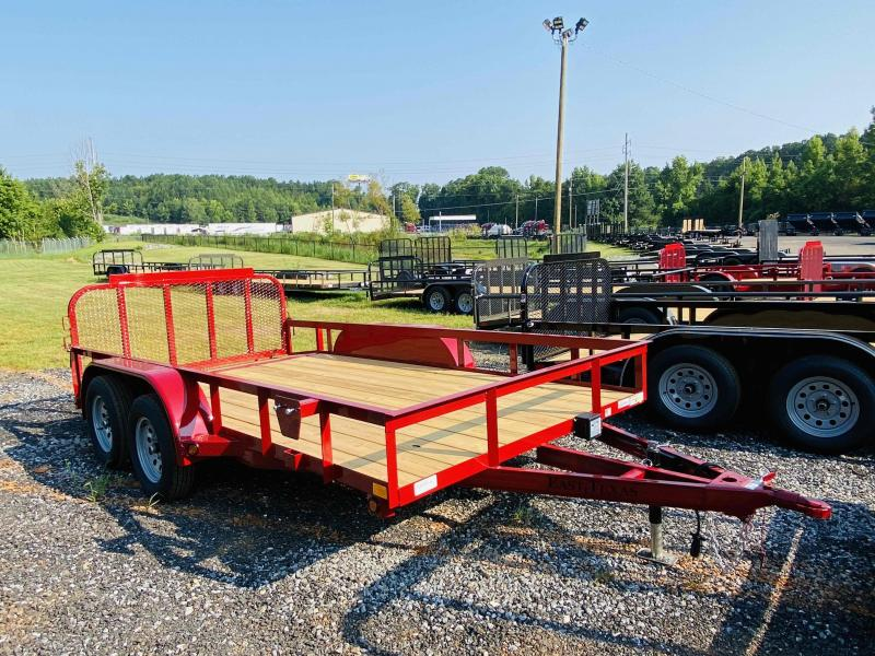 New 2021 East Texas 7ft x 14ft 7k Tandem Axle  Bumper Pull Utility w/1ft walls (Red)