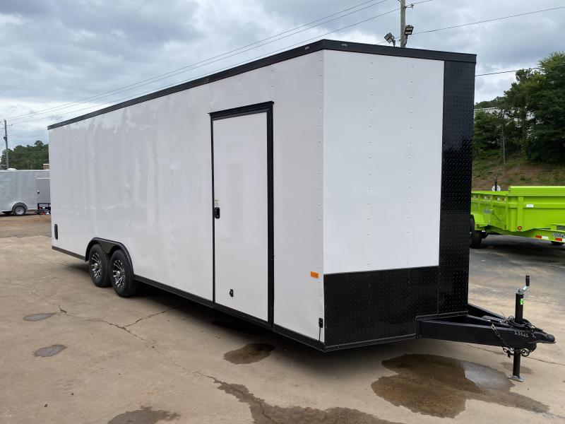 New 2021 Rock Solid 8.5ft x 24ft 10k Tandem Axle  Bumper Pull Enclosed w/7ft walls (White w/ SBO)
