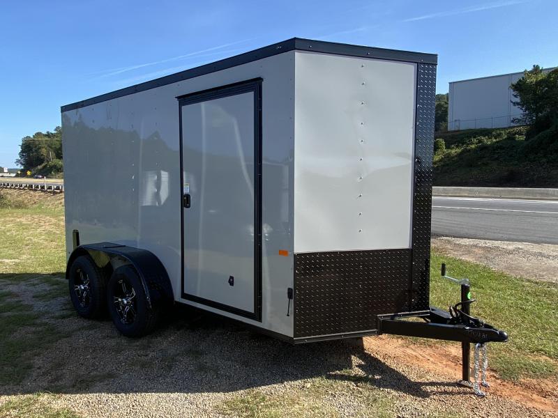 New 2021 Rock Solid 6ft x 12ft 7k Tandem Axle  Bumper Pull Enclosed w/6ft walls (Dove Gray w/ BO)