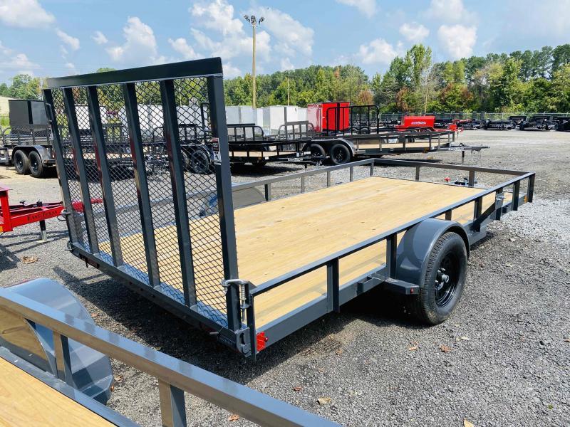 New 2021 Lamar 7ft x 14ft 3.5k Single Axle  Bumper Pull Utility w/1ft walls (Lamar Gray)