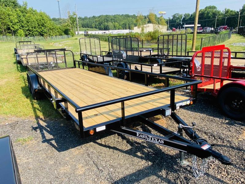 New 2021 East Texas 7ft x 24ft 7k Tandem Axle  Bumper Pull Utility w/1ft walls (Black)