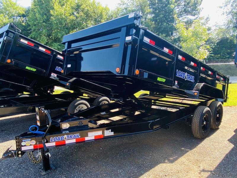 New 2021 Load Trail 7ft x 16ft 14k Tandem Axle  Bumper Pull Dump w/2ft walls (Black)