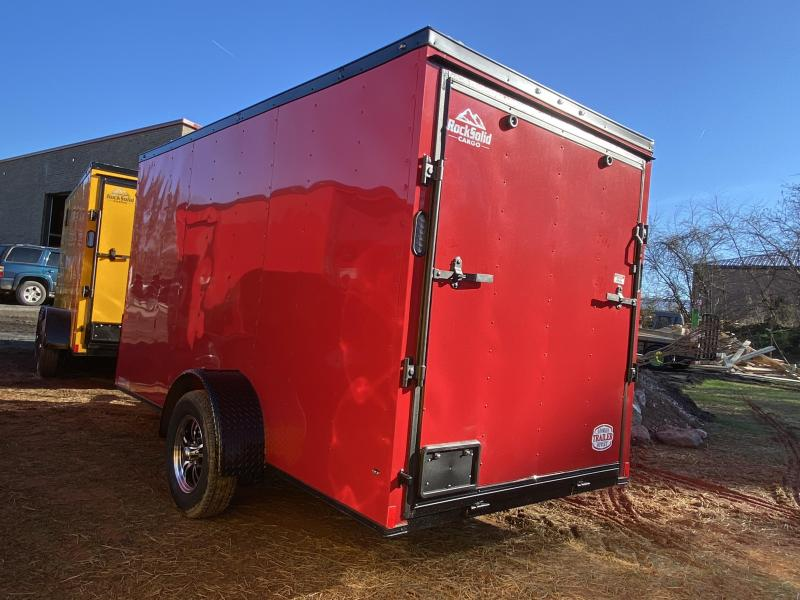 New 2021 Rock Solid 6ft x 12ft 3.5k Single Axle  Bumper Pull Enclosed w/6ft walls (Red w/SBO)
