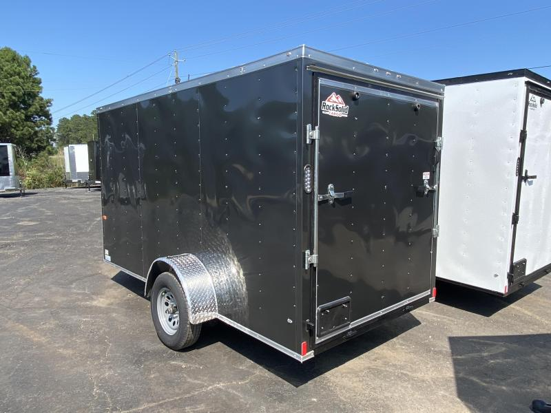 New 2021 Rock Solid 6ft x 12ft 3.5k Single Axle  Bumper Pull Enclosed w/6ft walls (Charcoal Gray)