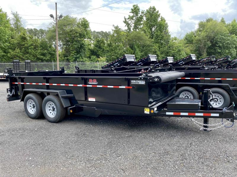 New 2021 Behnke 7ft x 16ft 14k Tandem Axle  Bumper Pull Dump w/2ft walls (Black)